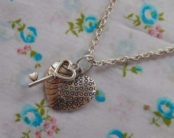 Small Heart and Key Antique Silver Charm Pendant Necklace