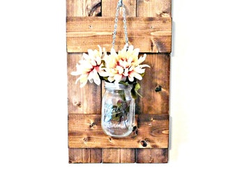 Hanging Mason Jar Wall Sconce, Candle Holder, Rustic Home, Farmhouse Cottage Decor, Mason Jar Decor, Wood Shutter, Barn Door
