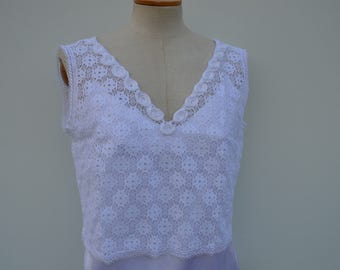 Married lace crop top white lace top