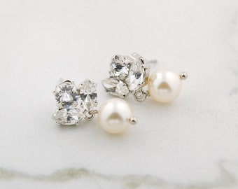 Dainty bridal earrings - crystal and pearl drops