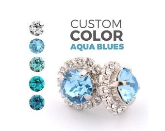 Wedding earrings - bridesmaid earrings - aquamarine stud earrings