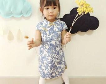 chinese style cheongsam  handmade for 1-10 girl blue