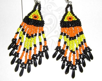 Southwest style chandelier earrings in Yellow, Orange and Black