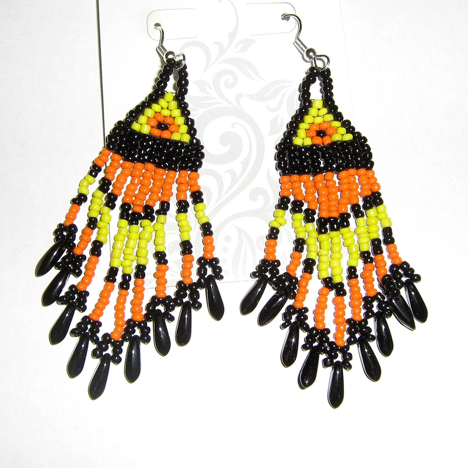 Southwest style chandelier earrings in yellow orange and black arubaitofo Gallery
