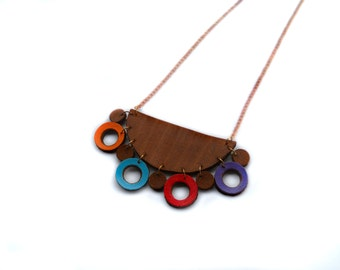 Geometric Leather Necklace - Bib - Suede - Statement - Painted - Hand cut - Half moon - Circle - Shop - Jewelry - Design - Unique - Brown