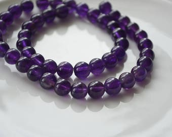 8mm  Amethyst round beads, Dark Purple, semi precious, 15 inch strand, Wholesale bead supplies, under 6 dollars