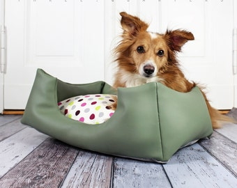 Dog bed, artificial leather, lime green, dots, dog, cat, colorful, puppy, sleeping, pillow, cat bed, green, shabby, vintage, cuddly