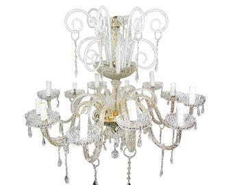 Vintage Italian Chandelier Vintage Chandelier Vintage Ceiling lamp Murano Chandelier Large Italian light Crystal chandelier Large chandelier