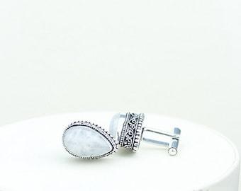 Moonstone Vintage Filigree Antique 925 Fine S0LID Sterling Silver Men's / Unisex CUFFLINKS k353