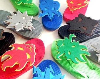 "Kid's Sizes SM, MD, LG, & Xlg ""Lego Ninjago: Masters of Spinjitzu"" Elemental Symbol Flip-Flops"