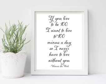 If You Live To Be 100, Disney Quotes, Winnie The Pooh, Disney Quote Prints, Nursery Wall Art, Kids Wall Art, Baby Wall Art, Neutral Nursery