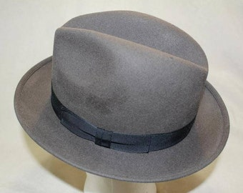 Vintage Robert Hall Gray Fur Felt Men's Dress Hat Fedora Size 7