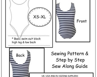 Stretch Swim Suit Block Sizes XS to XL Sloper - Ideal For Dressmakers, Pattern Cutters, & Designers, Make your own patterns!PDF Download