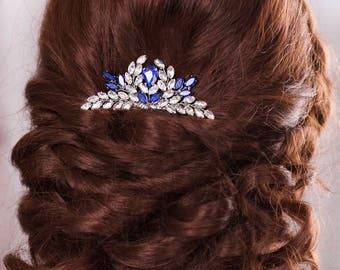 Blue Bridal hair comb Something Blue hair comb Navy blue Wedding Hair accessory Rhinestone hair comb Sapphire blue Crystal hair comb