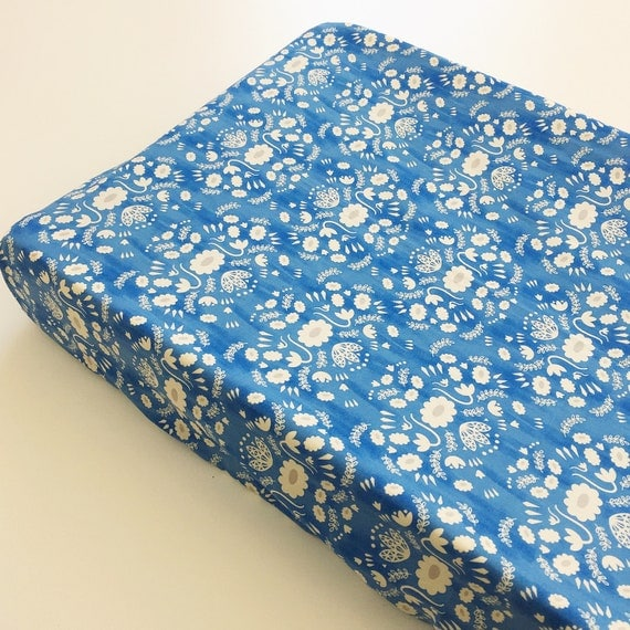 Changing Pad Cover - 'Flower Shop' Folk in Blue - READY-to-SHIP