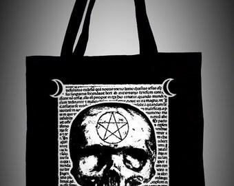Black organic cotton tote bag,original witchcraft illustration MALEFICARUM, ecological white ink