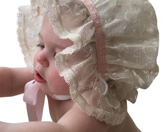 Ivory Lace French Bonnet with Organdy, Lace, Pink Roses and Ribbon