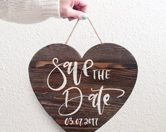 CLEARANCE: Wood Heart Sign, Save The Date Sign, Wood Calligraphy
