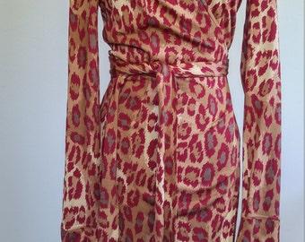 Vintage Diane Von Furstenberg Silk Wrap Dress - Leopard