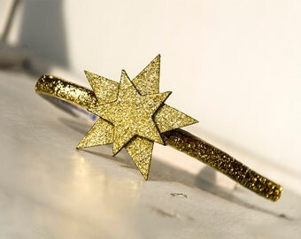 Gold headband, Gold star headband, Golden glitter hair, Sparkle headpiece, New Year Eve hair, Girls party hair, Holiday headband kit