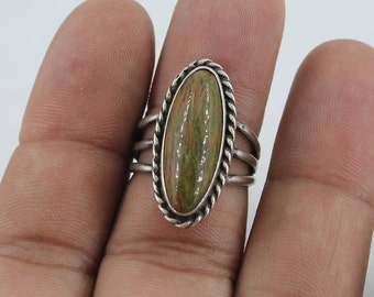 Native American Sterling Silver Petrified Wood Ring  Size 7