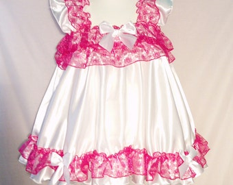ALL Sizes 39 GBP Adult Baby Satin Sissy Short Dress / Top in White & pink frilly