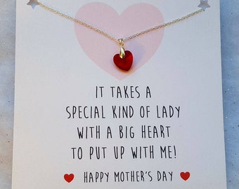 Handmade Mothers Day Card with Necklace