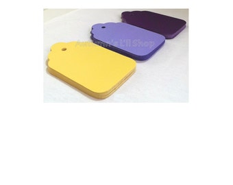 Large Blank Tags, Yellow Scallop Shower Favor Tags, Tags with Hole, Journal Tag, Place Cards, Purple Diecut Tags, Wish Tree, 60 CT