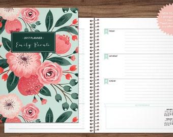 2017 planner custom 2017 2018 planner student planner HORIZONTAL LAYOUT weekly calendar agenda daytimer / teal pink bouquet
