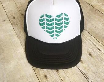 Turquoise Glitter Heart Trucker Hat