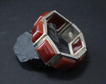 Sterling Silver and Carnelian Modernist Square Signed Link Bracelet