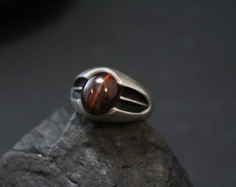 Sterling Silver Modernist Red Tigers Eye Ring
