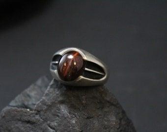 Sterling Silver Modernist Red Tigers Eye Ring