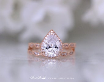 3.12 ct.tw Halo Art Deco Bridal Set Ring-Pear Cut Diamond Simulant-W/ All, Half Eternity Band-Rose Gold Plated-Sterling Silver [6253RG-2]