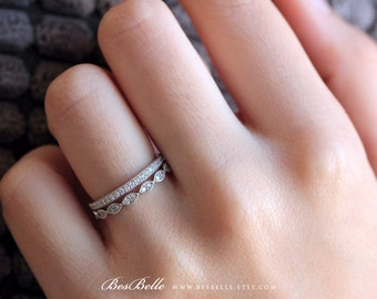 Two Milgrain Eternity Set Ring-1.02 ct.tw Brilliant Cut Pave Set Diamond Simulants-Art Deco Stackable Ring-Sterling Silver [65360ME-2]