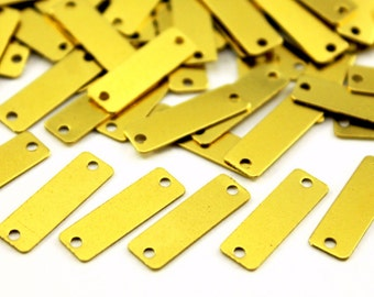 50 pcs 6x19 mm Raw Brass Rectangle Charms
