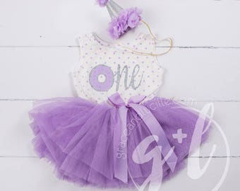 Donut Birthday Outfit, First Birthday outfit girl, Purple donut birthday, First Birthday pink and gold dress, sleeveless, polka dot