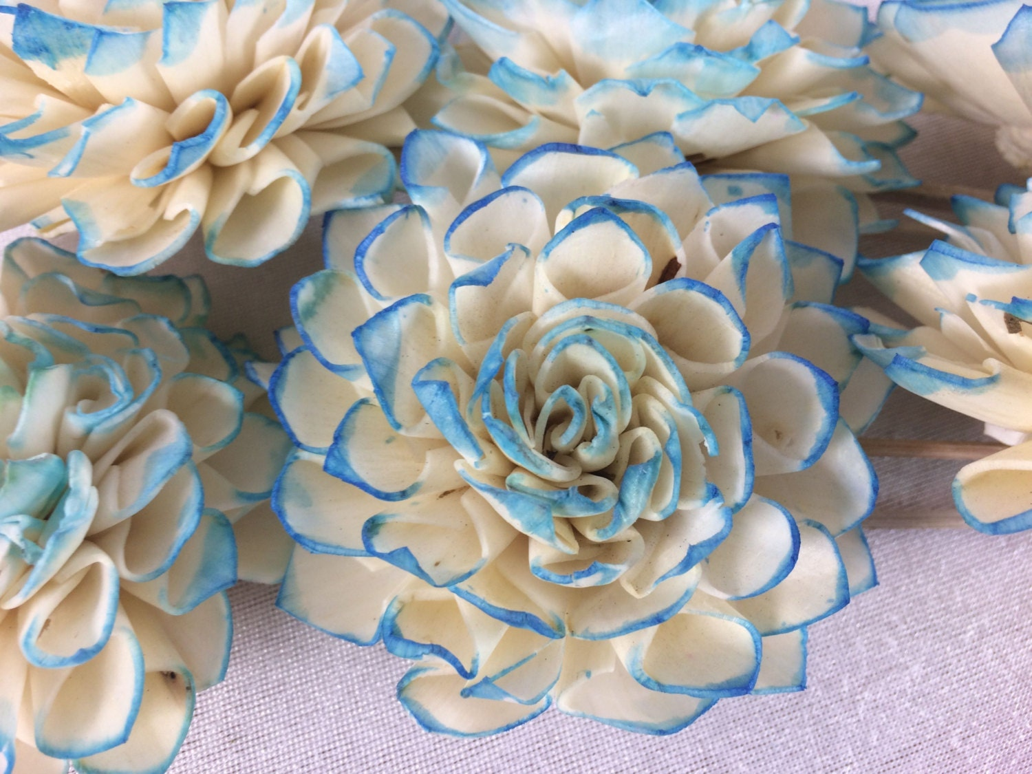7 big blue foam flowers for wedding bridal bouquet table for Big bouquets of flowers