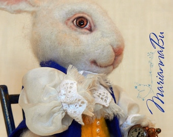 """Felt toy """"A white rabbit of Alice"""" Made to order"""