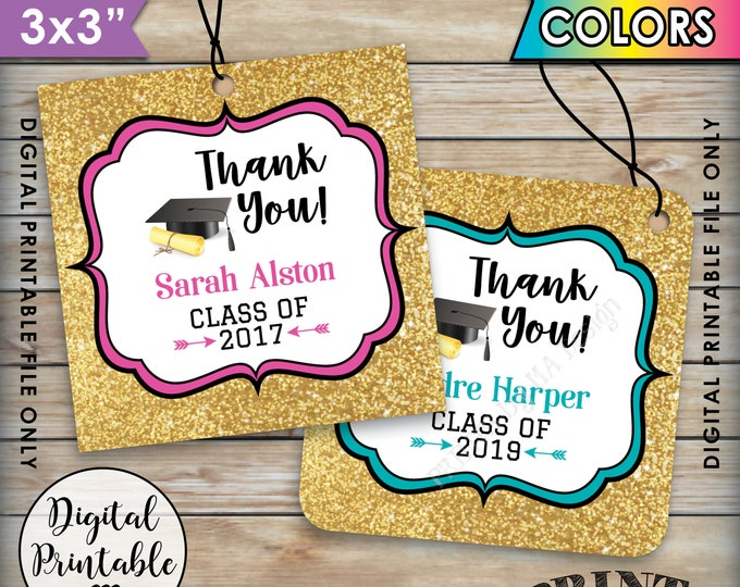 """Graduation Thank You Tags, Custom Grad Tags Graduation Party Favors Gold Glitter Grad Party Favors, Printable 3x3"""" Tags on 8.5x11"""" Sheet"""
