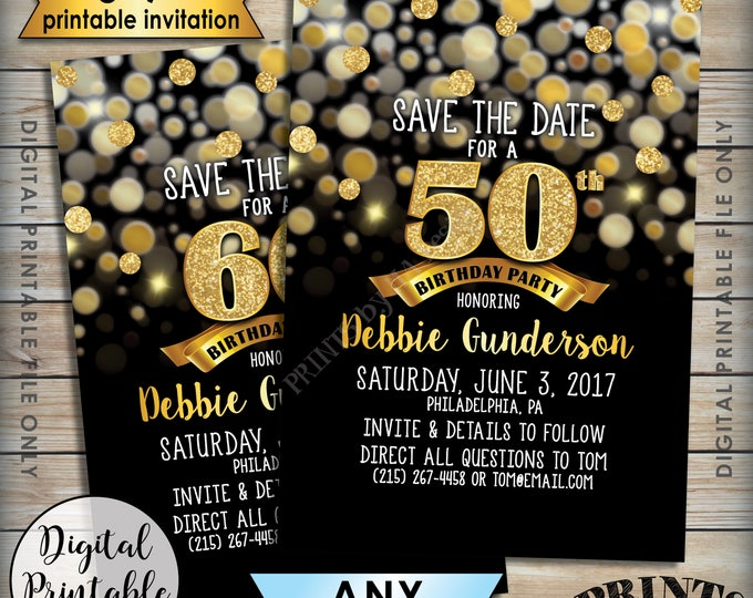 """Birthday Party Save the Date, Birthday Save the Date, 30th 40th 50th 60th 70th Birthday STD, Black & Gold Glitter 5x7"""" Printable File"""