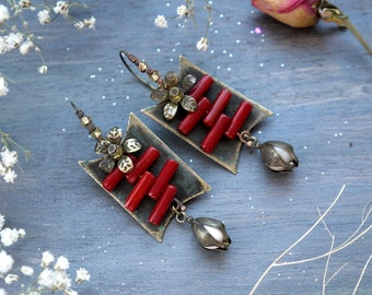 Earrings copper patinated red stone coral, earrings with flowers, spring flowers, earrings stamping, stylish earrings, square earrings, Love