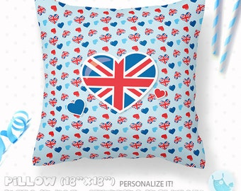 ON SALE Personalized Pillow, british pillow, 18x18 pillow with or without stuffing, pillow, personalised gift british flag pillow, PL110