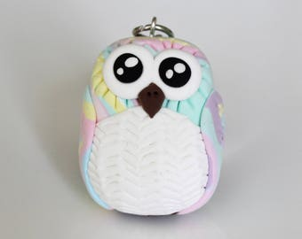 Colorful pastel Owl Keychain