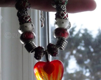 Hand Painted Flaming Glass Heart Tibetan Silver Plated European Glass Lampwork Beaded Necklace By Nickole Schmidt For WimsicalGlassography