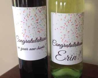 FREE SHIPPING! Congratulations confetti wine label. New home, engagement, promotion, graduation, new baby, new job, achievement