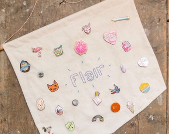 Pin Badge Display Banner | Pin Banner | Pin badge storage | Flair Banner | Hanging Banner | Fabric Banner | Wall Hanging | Hand Embroidered