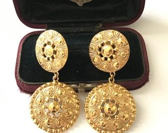 Vintage Etruscan Revival Medallion Clip On Earrings