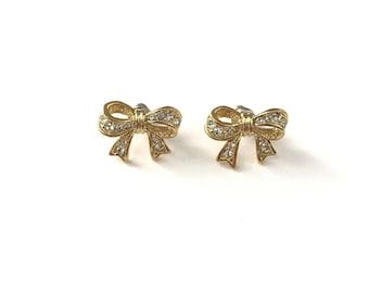 Vintage Gold Plated Rhinestone Bow Stud Post Earrings