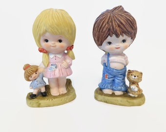 Homco Figurines Set Boy Girl #3160 Home Interiors Figurines Homco Children Figurines Collectible Homco Porcelain Figures Girl Doll Boy Cat